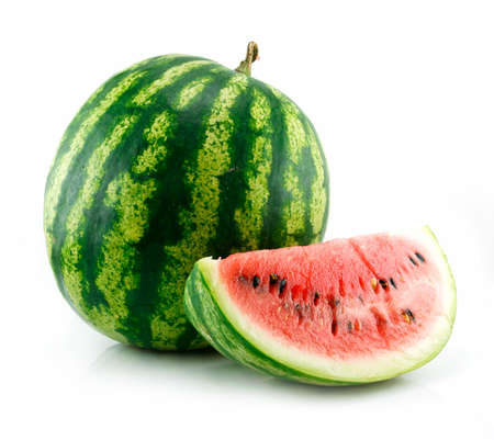 Ripe Sliced Green Watermelon Isolated on White Background photo