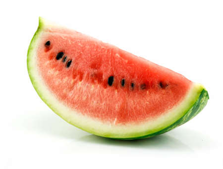 sliced watermelon: Section of Ripe Sliced Green Watermelon Isolated on White Background Stock Photo