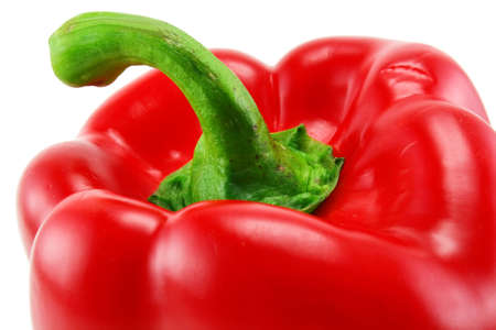 Extreme closeup of colored red paprika isolated on a white background Stock Photo - 6542139