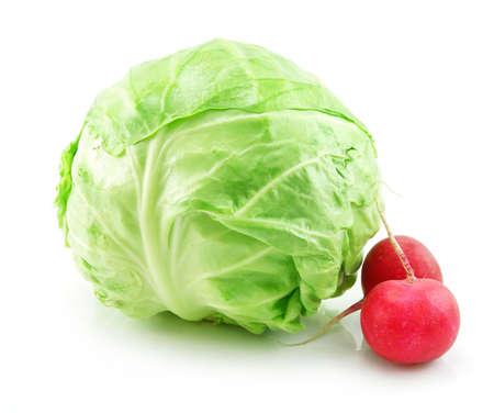 Ripe Cabbage and Radishes Isolated on White Background photo
