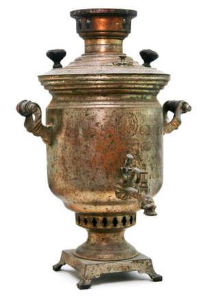 Old Brass Samovar Isolated on White Background photo