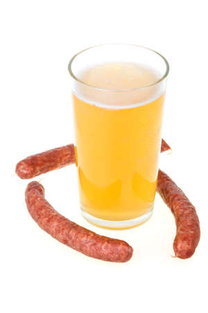 Cup of beer and grilled sausages isolated in white background Stock Photo - 6543323