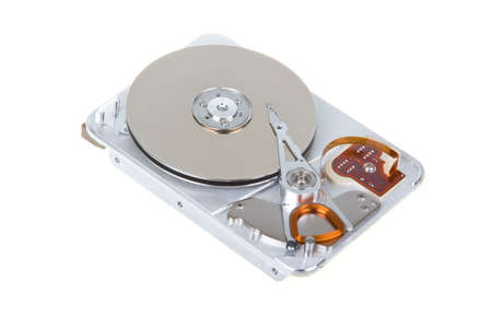 Open hard disk drive isolated on white background photo