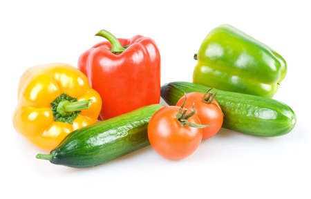 Fresh Ripe Vegetables (Tomatoes, Cucumbers ad Paprika) Isolated on White Background photo