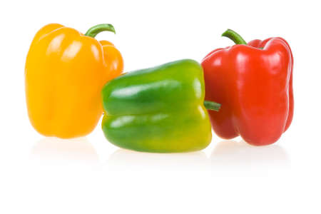 Ripe Yellow, Green and Red Paprika Isolated on White Background photo