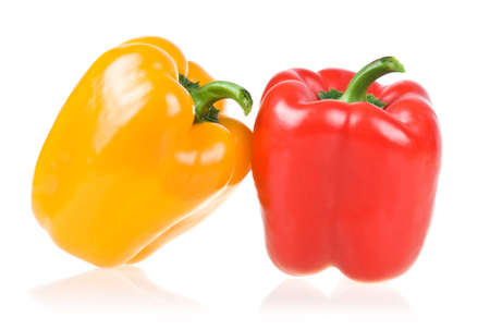 Ripe Yellow and Red Paprika Isolated on White Background photo