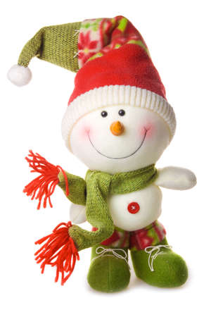 Snowman in hat and scarf isolated on white background