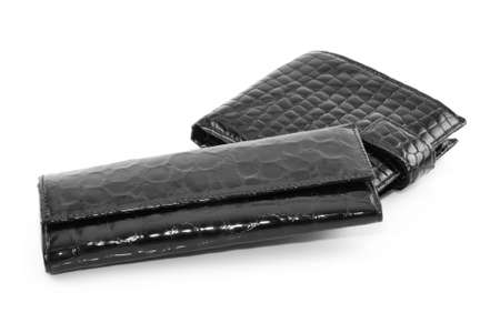 doorkey: Black Leather Purse per chiavi e pagamenti isolati su sfondo bianco