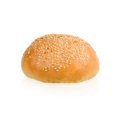 Baked Bun with Sesame Isolated on White Background photo