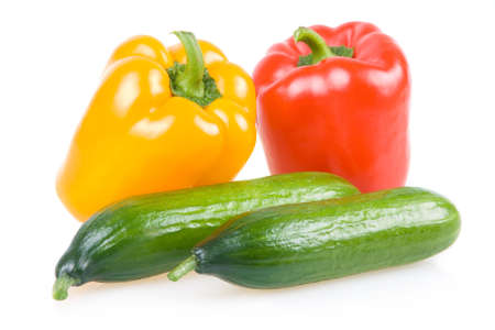Colored Paprika and Cucumber Vegetables Isolated on White Background photo