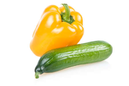 Yellow Paprika and Cucumber Vegetables Isolated on White Background photo