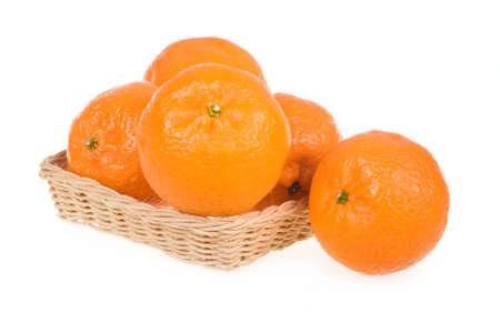 Ripe Tangerine Fruits in Basket Isolated on White Background Stock Photo - 6541912