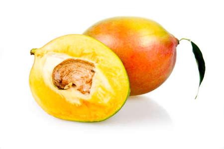 Ripe mango fruits with leaves isolated on white background Stock Photo - 6752995