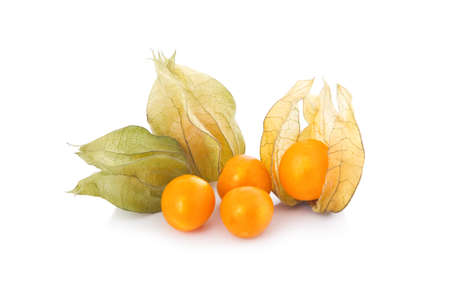 gooseberry: Cape gooseberry (physalis) isolated on white background