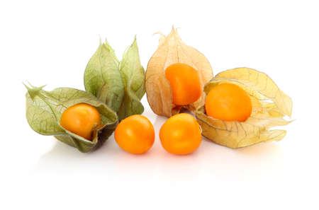 husk tomato: Cape gooseberry (physalis) isolated on white background