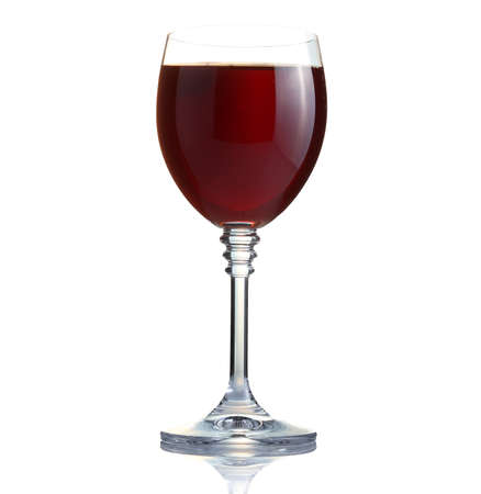 red wine in a glass isolated on thite background photo