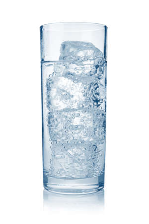 carbonated: Full glass of fresh cool carbonated water with ice isolated on white