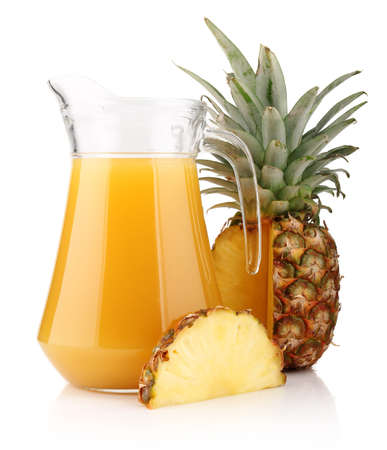 Jug of pineapple juice with fruits isolated on white background