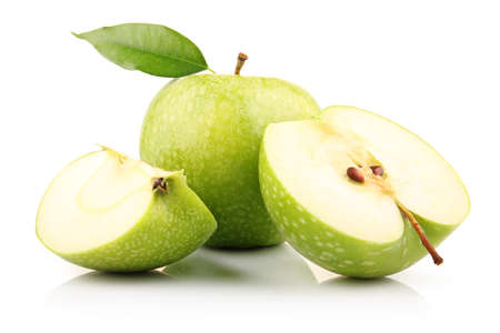Ripe green apple with slices isolated on white background photo