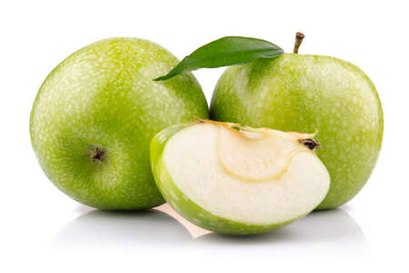 Ripe green apple with slices isolated on white background Stock Photo - 9621721