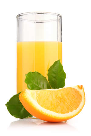 glass of orange juice and orange fruits with green leaves isolated on white photo