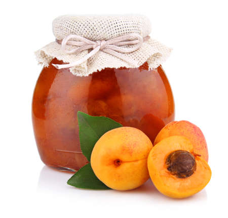 Apricot jam isolated on white background  Stock Photo - 9969809