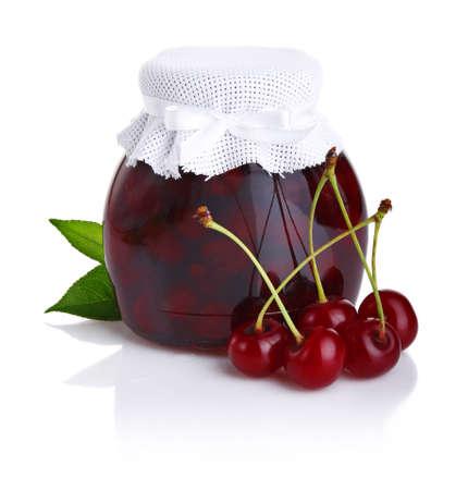 Cherry jam isolated on white background  Stock Photo - 9969806