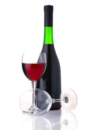 Bottle and glass of red wine isolated on white background photo