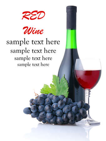 Bottle and goblet of red wine with branch of grapes isolated on white background Stock Photo - 10692451