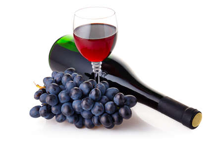 Bottle and goblet of red wine with branch of grapes isolated on white background Stock Photo - 10692446
