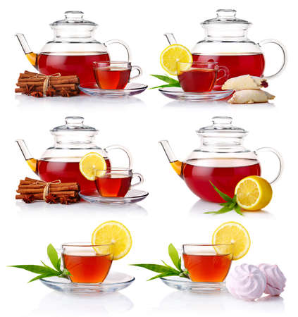 tea hot drink: Set of teapot with black tea isolated on white background Stock Photo