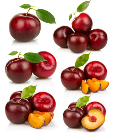 Set of ripe red plums fruit isolated on white background Stock Photo