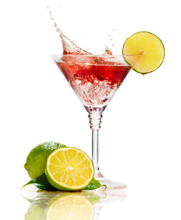 vermouth: Red martini cocktail with splash and lime isolated on white