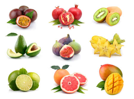 organic background: Set of exotic fruits isolated on white background Stock Photo