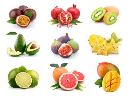 Set of exotic fruits isolated on white background Imagens