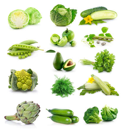root vegetable: Set of fresh green vegetables isolated on white background