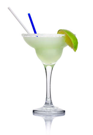 Alcohol cocktail margarita isolated on white background