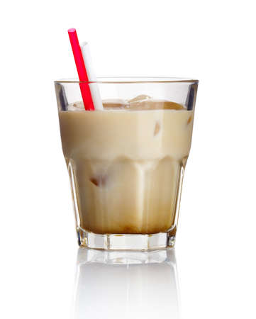 white russian: Alcohol cocktail white russian isolated on white background Stock Photo