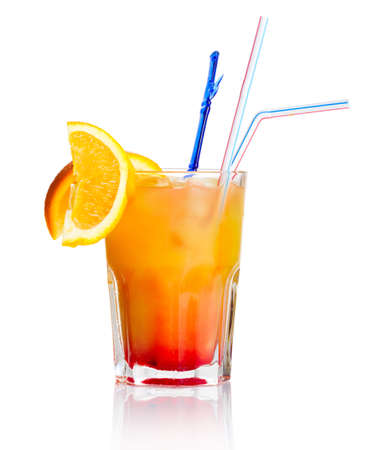 Red alcohol cocktail with orange slice isolated on white background photo