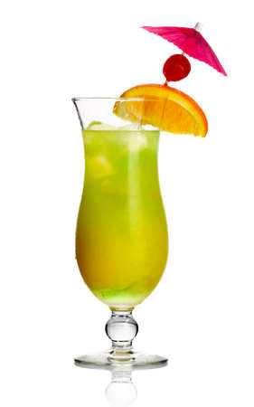 Yellow alcohol cocktail with orange slice and cherry isolated on white background