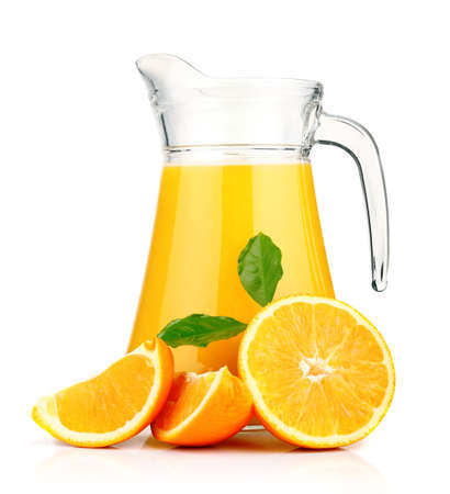 Orange juice in pitcher and oranges  Isolated on white background  photo