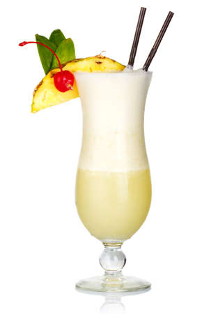 Alcohol cocktail with milk and fruits slices isolated on white background