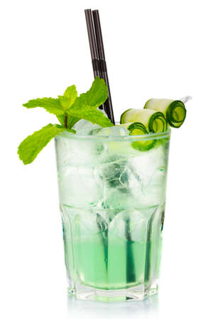 Green alcohol cocktail with fresh mint and cucumber isolated on white background photo