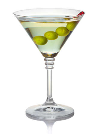 Olive martini cocktail isolated on white background Stock Photo