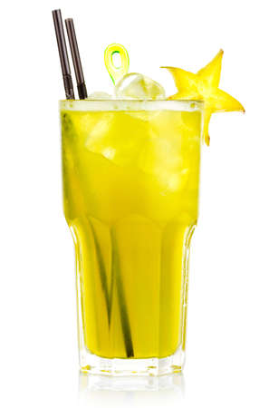 Yellow alcohol cocktail with carambola fruits slices isolated on white Stock Photo