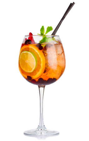 Alcohol cocktail with fresh mint and fruits isolated on white background Stock Photo