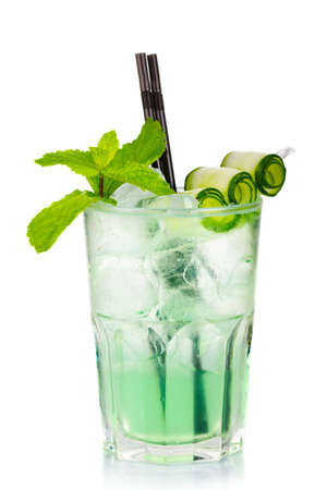 Green alcohol cocktail with fresh mint and cucumber isolated on white background Stock Photo