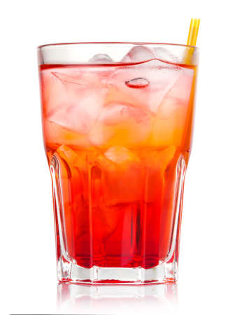 Red alcohol cocktail with ice and straw isolated on white background