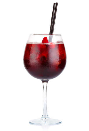 Red alcohol cocktail with red wine and raspberries isolated on white