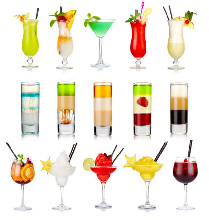 Set of alcoholic cocktails isolated on white background Stock Photo
